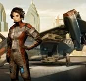 Deus Ex: Human Revolution, une fille et un vaisseau spatial